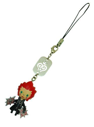 Kingdom Hearts Avatar Mascot Strap - Axel. Ideal decoration for any backpack, purse, jacket, or cell phone. Features characters from the Kingdom Heart video game. Choose from any of your favorite Kingdom Hearts characters. Comes with a 2 1/2 inch strap and a metal engraved plate. Measures 1 1/4 inches in length.
