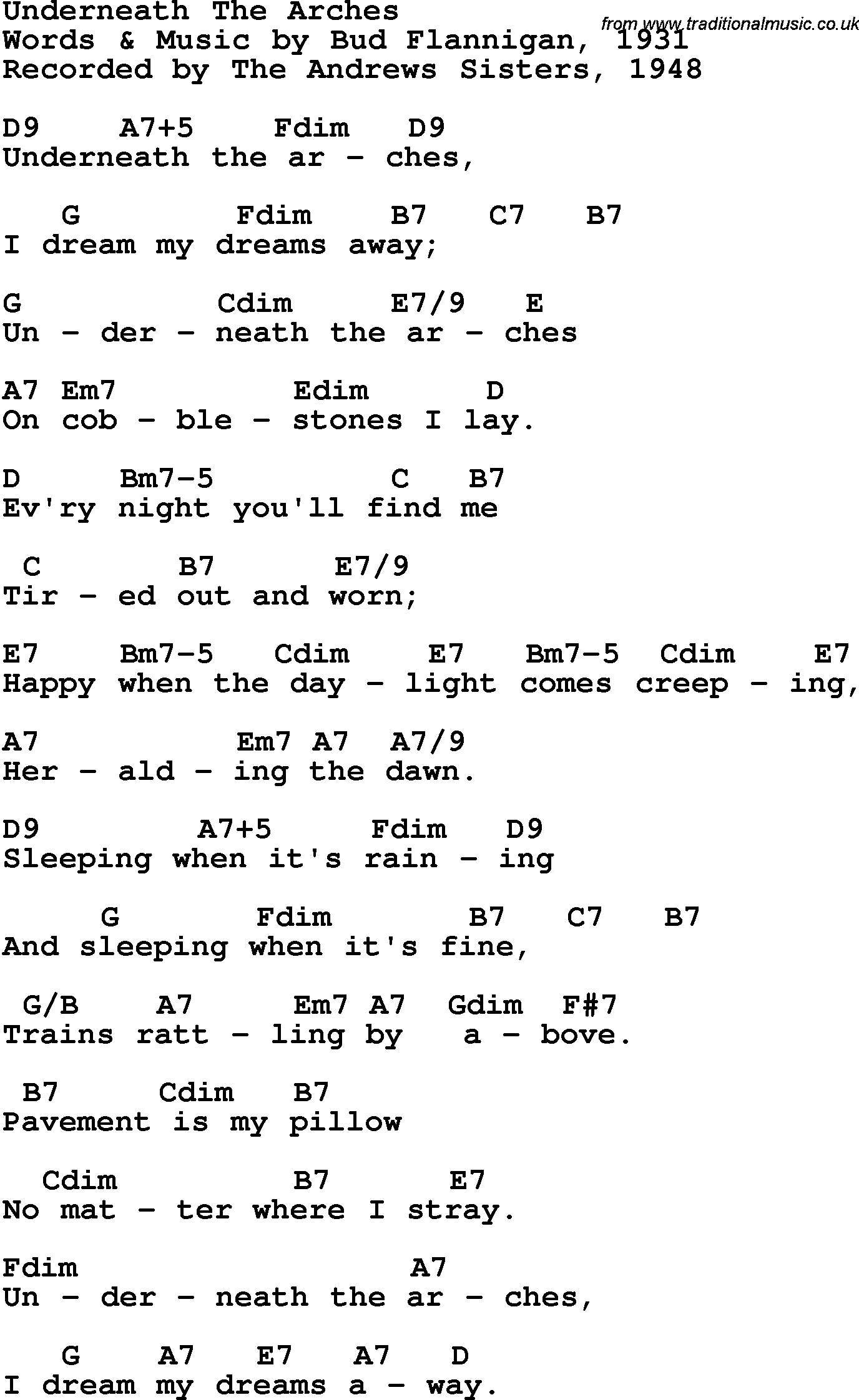 Song Lyrics With Guitar Chords For Underneath The Arches The