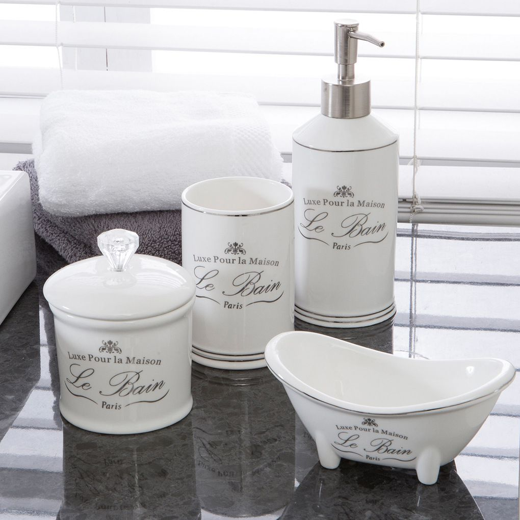Add A Touch Of Rustic French Flair To Your Bathroom With The Le Bain Accessories These Gorgeous Stoneware Feature Metallic Accents And