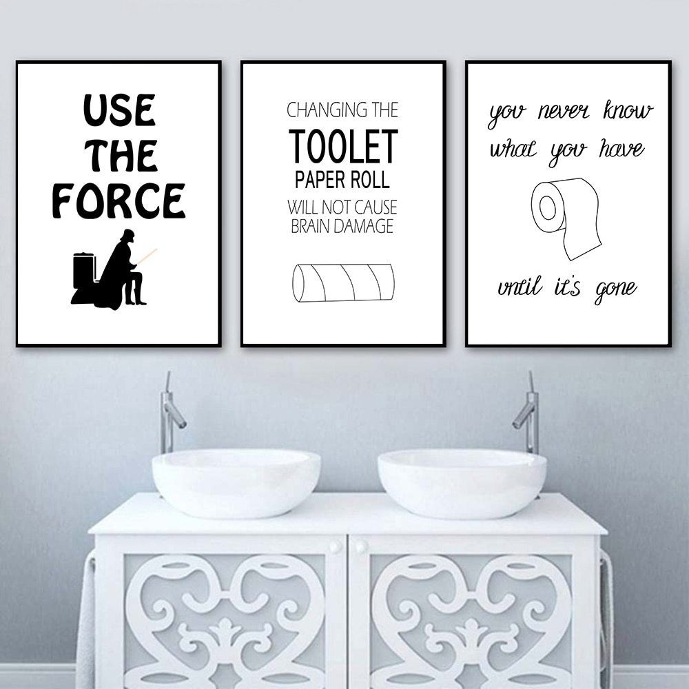 Funny Star Wars Canvas Painting Toilet Paper Wall Art Print Poster Modern Posters And Prints Picture For Bathroom Home Decor In 2020 Paper Wall Art Star Wars Canvas Painting Bathroom Decor Pictures