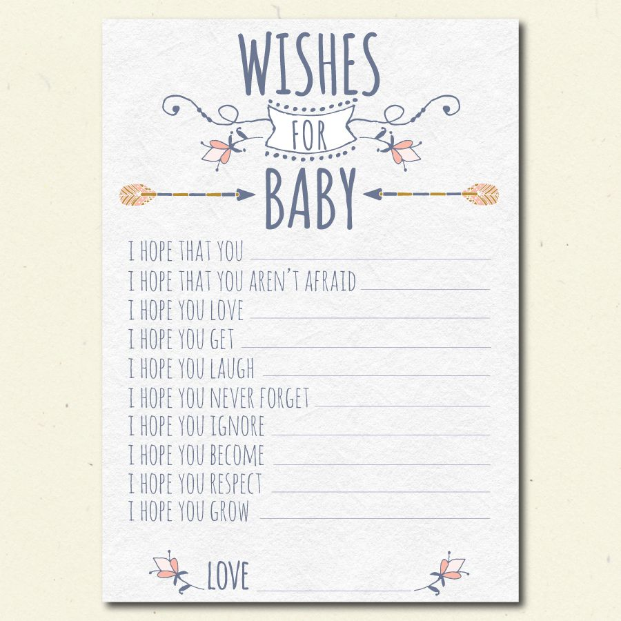 Tribal Wishes For Baby Shower Printable, Boho Girl Baby