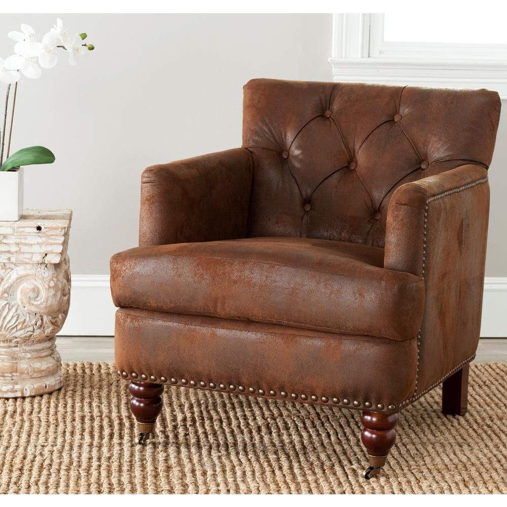 Chocolate Brown Living Room Chairs Decor Pad Safavieh Colin Distressed Leather Arm Chair Birchwood In Hud8212b The Home Depot