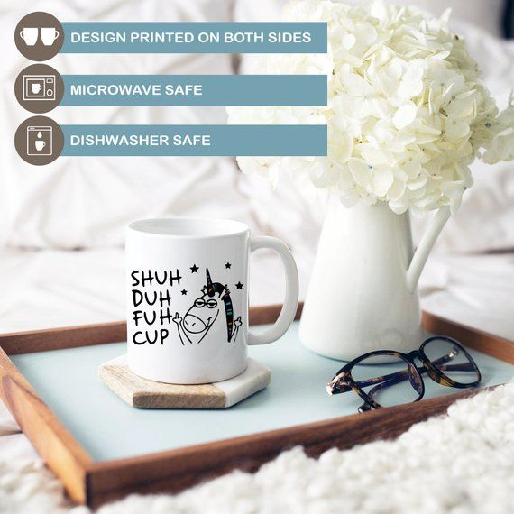 Sunflower Shuh Duh Fuh Cup Ceramic Black 11 oz Coffee Mug