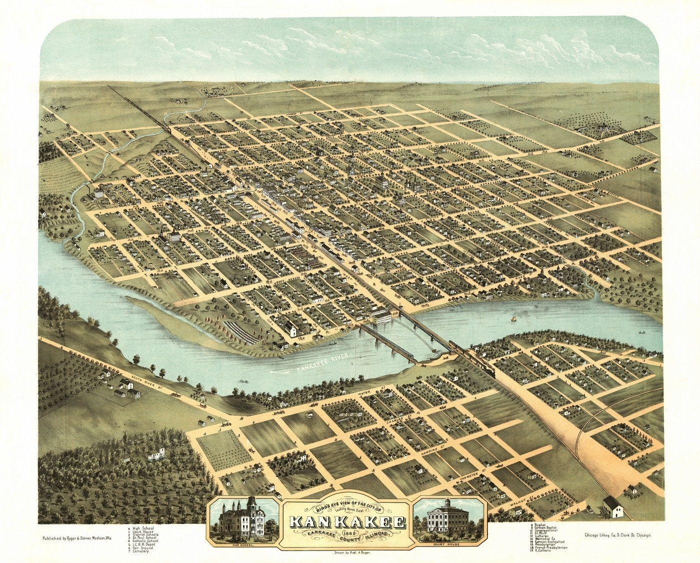 Vintage Map Of Kankakee Illinois Kankakee County Poster - Us map 1869