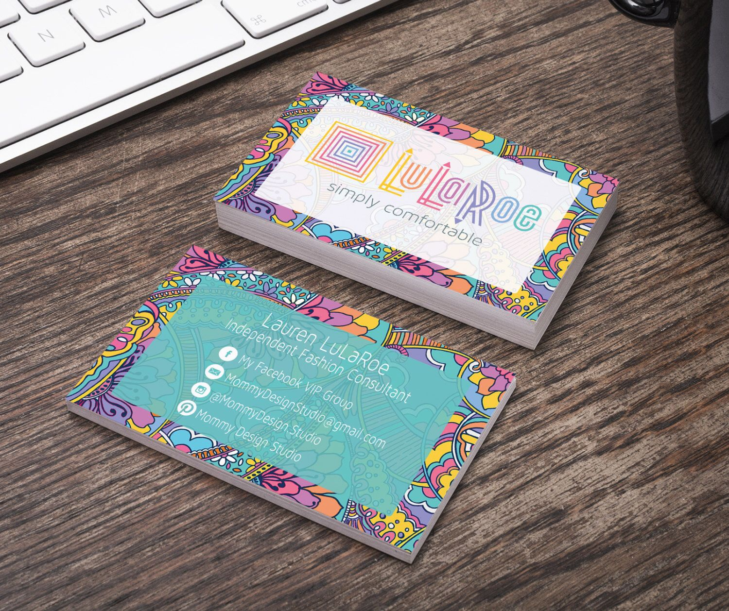 colorful floral paisley pattern boho business card ho