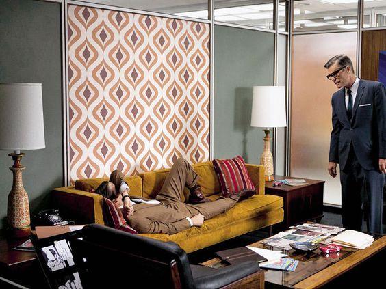 Mad Men Interior Living Room Mad Men Papel De Parede Geometrico Cenografia