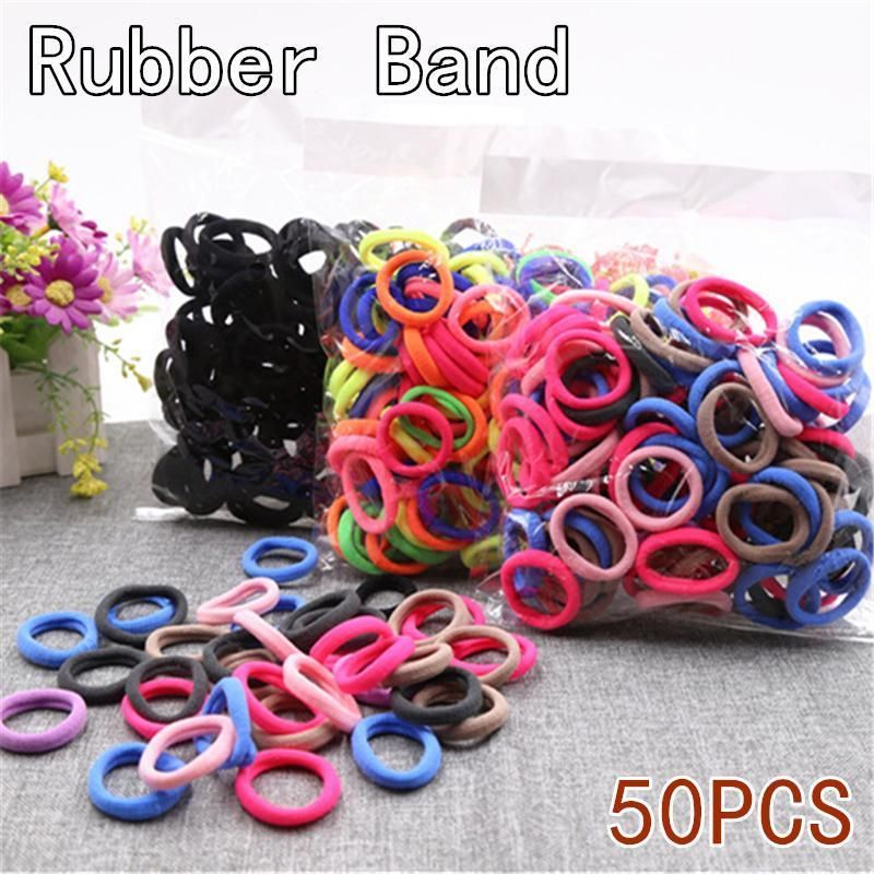 50pcs Ponytail Holder Elastic Rope Ring Hairband Women Girls Hair Ties