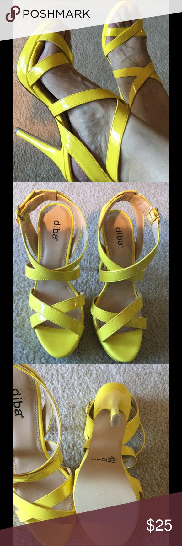 "Bright Yellow Sandals BNWOB LASYCHANCE Never worn, size 7.5, heel 5"" Diba Shoes Heels"