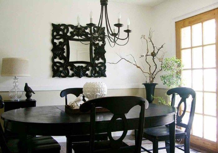 wandgestaltung ideen esszimmer gestalten wandspiegel schwarze möbel - wohnzimmer ideen petrol
