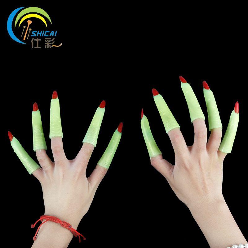 Free shipping 10PCS/ luminous nail sets Halloween masquerade party ...