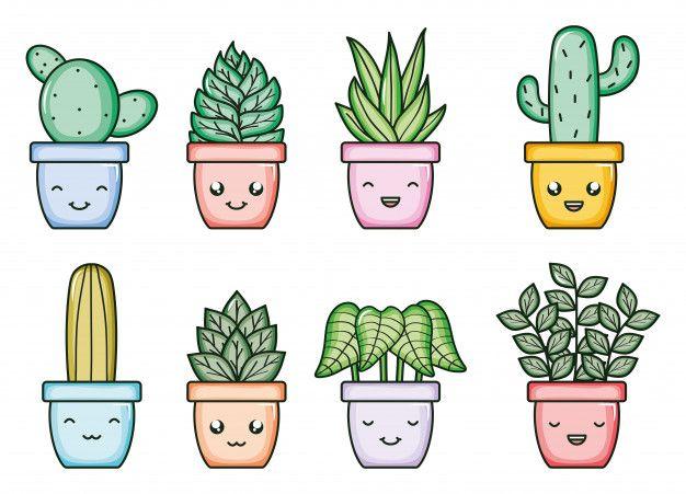 Plantas de casa y cactus kawaii personaj... | Premium Vector #Freepik #vector #casa | Dibujos kawaii para imprimir, Garabatos kawaii, Pegatinas imprimibles