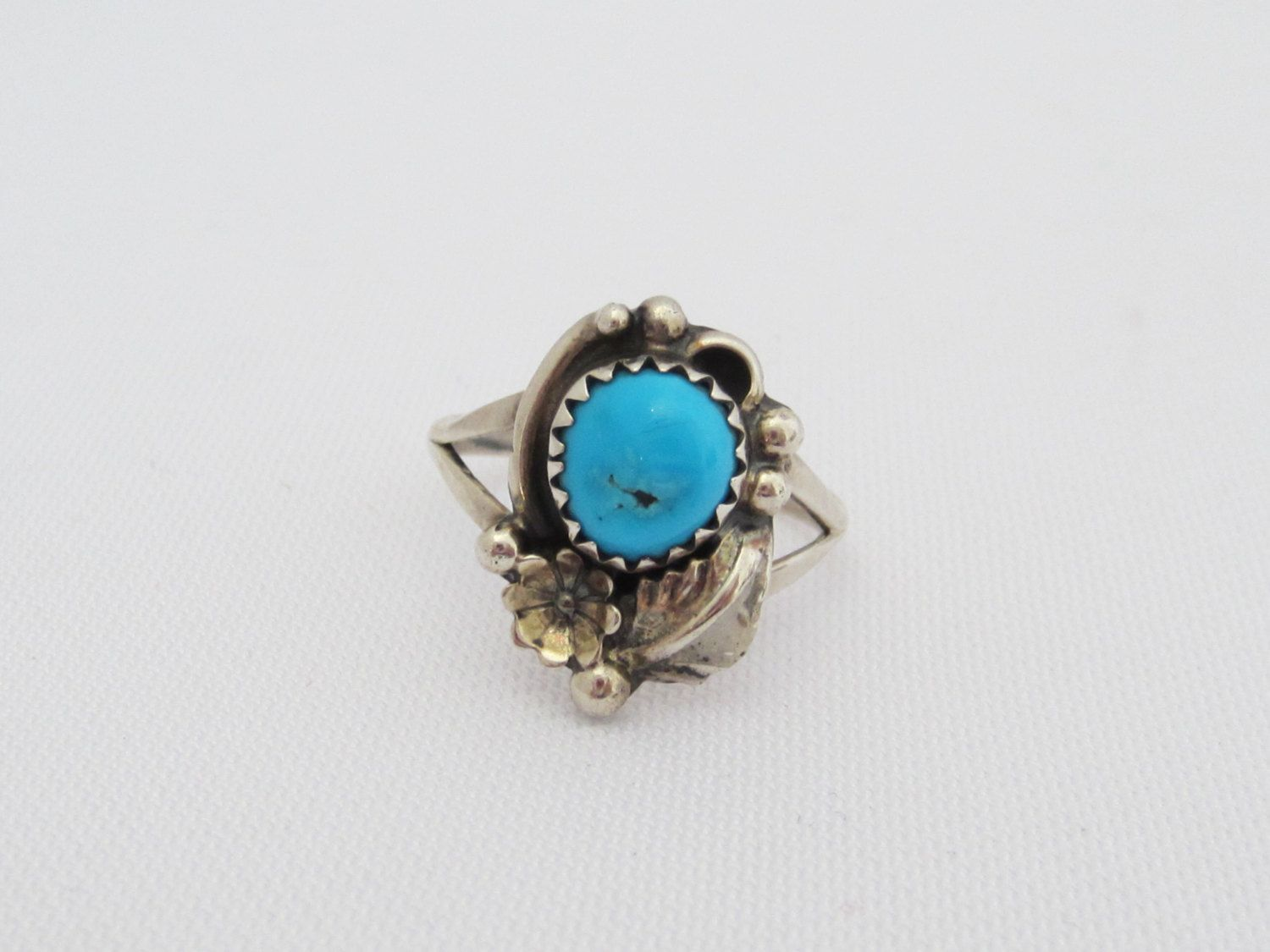 Vintage Sterling Silver Turquoise Ring Size 6.25 by wandajewelry2013 on Etsy