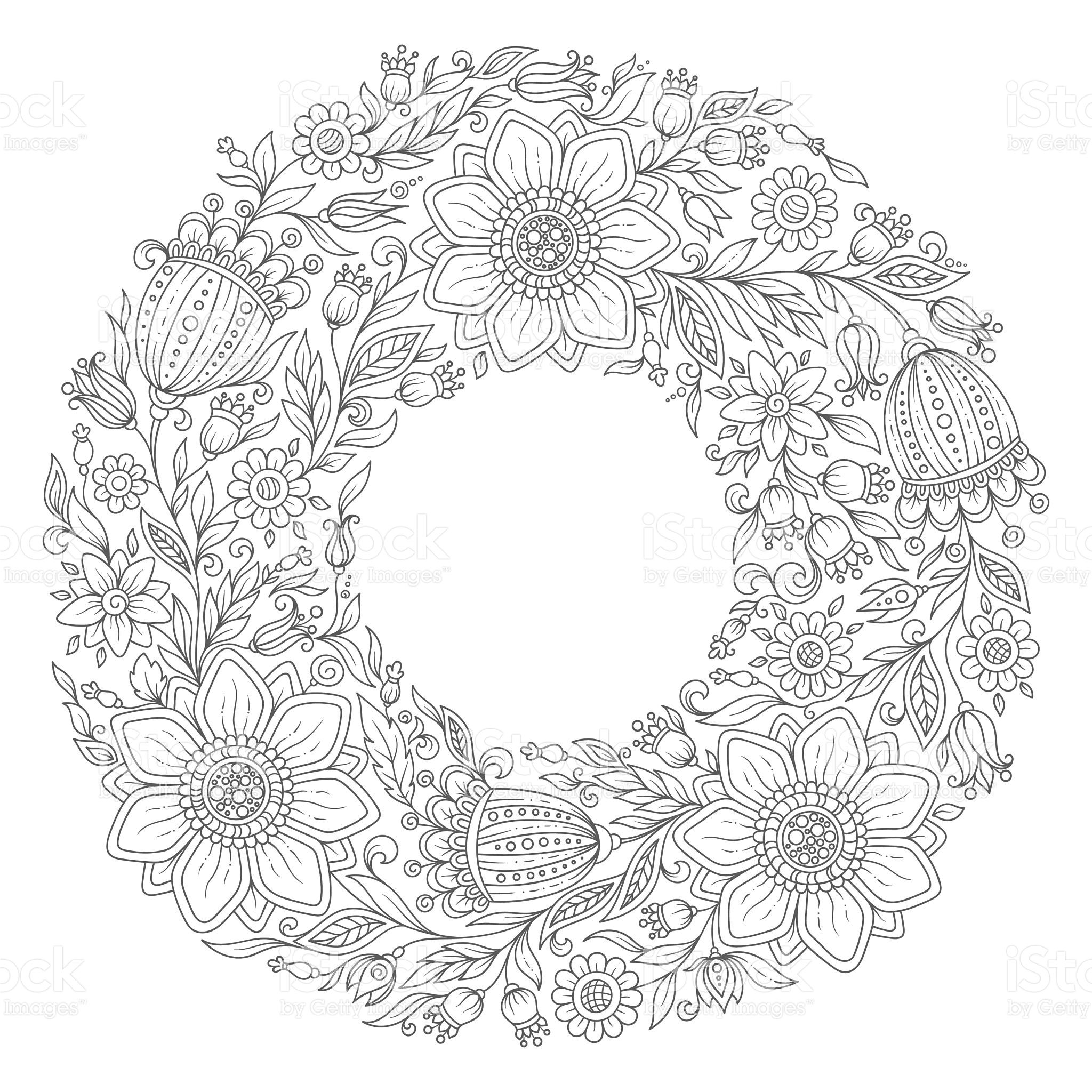 Flowers Wreath Coloring Book Page For Adult Vector Hand Drawn