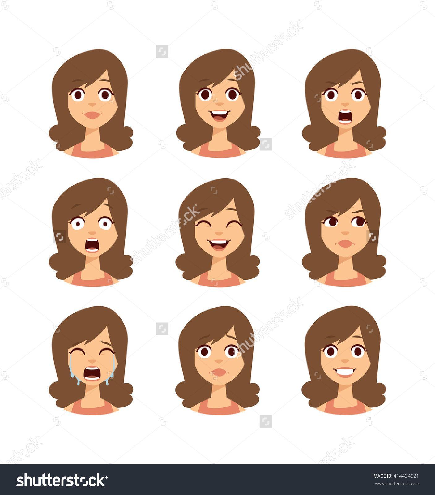 Cartoon Characters Faces : Girl emotion faces cartoon vector illustration woman