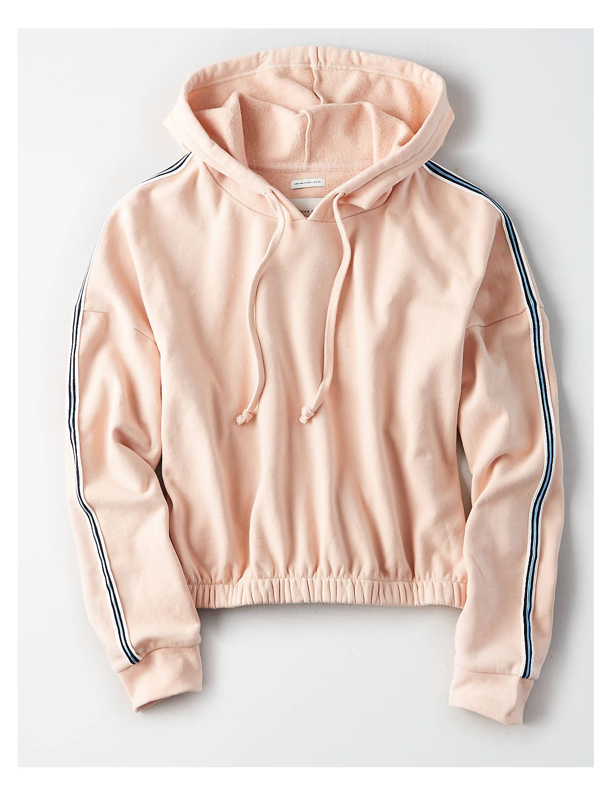 Ae Stripe Trim Cinched Hem Hoodie Peach American Eagle Outfitters Hoodies Women Hoodies Sweatshirts Mens Outfitters [ 1575 x 1211 Pixel ]