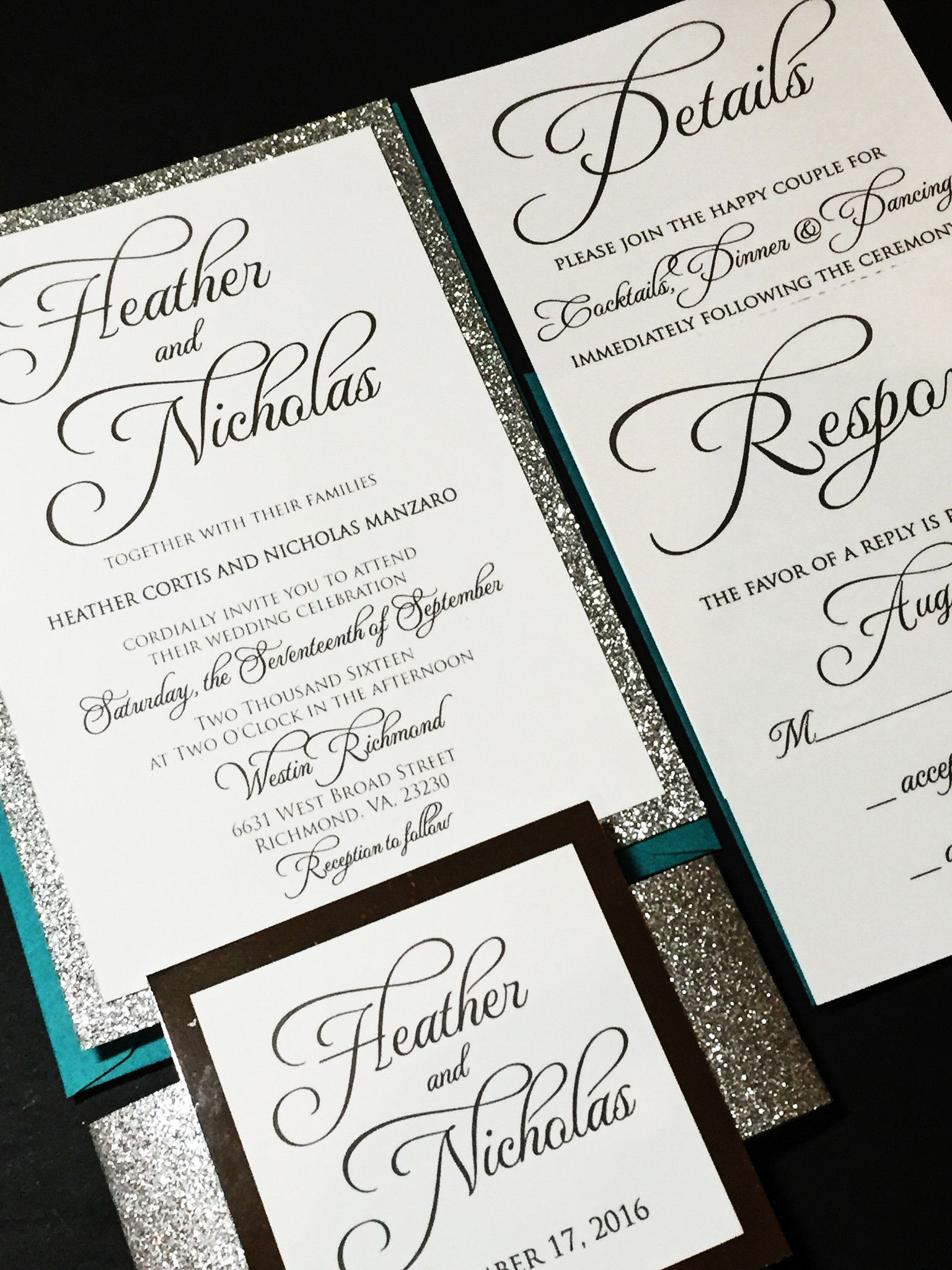 Teal and Silver Glitter Wedding Invitation, Calligraphy Wedding ...