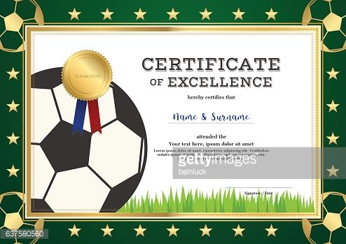 Vector Art Certificate Of Excellence Template In Sport Theme For