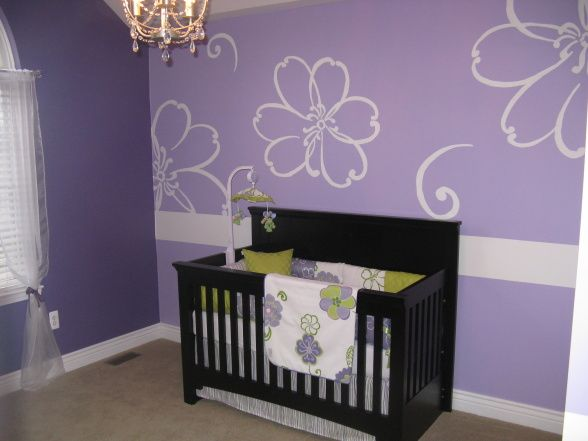 Purple Baby Girls Room Hand Painted Purple Flowers And