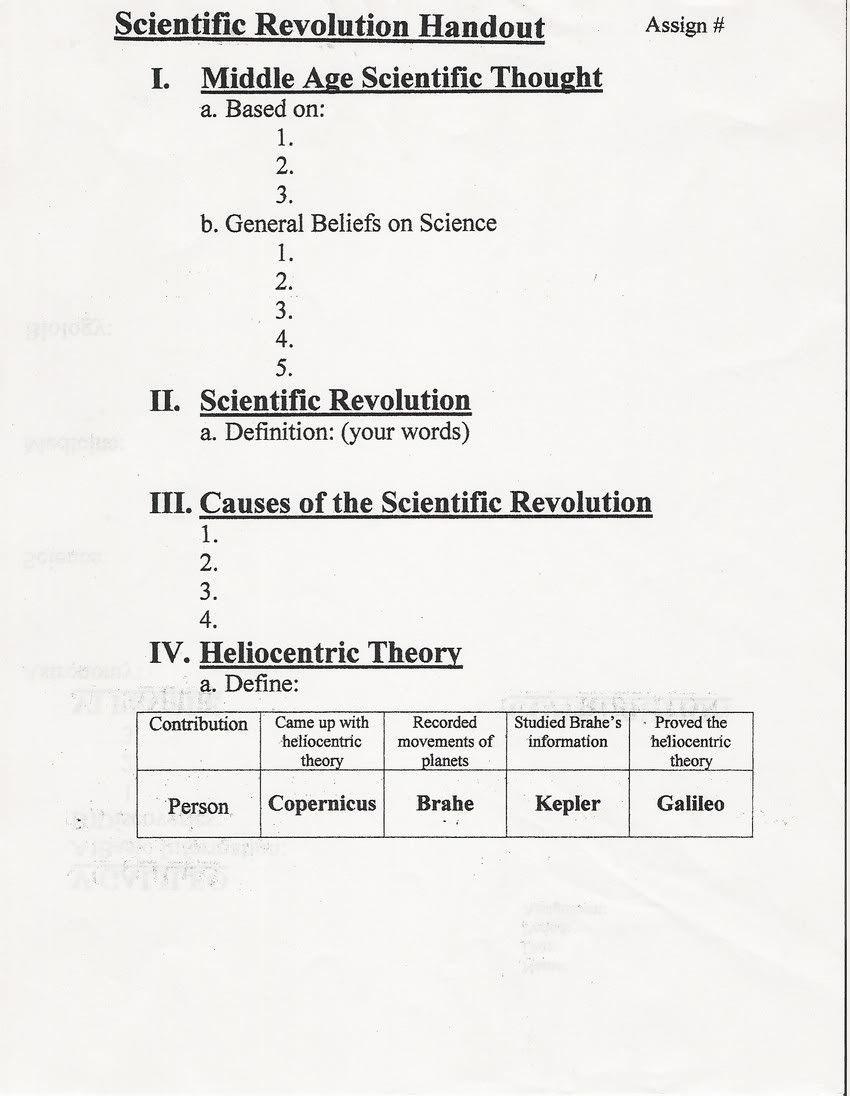 worksheet The Scientific Revolution Worksheet sci rev notes world history pinterest