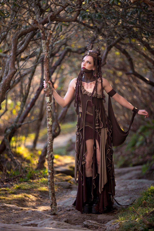 Tree Spirit Dress Forest Witch Queen Ensemble Priestess