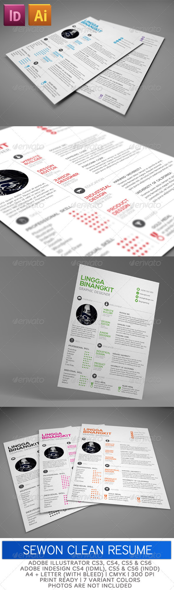 Sewon Clean Resume Template for InDesign | Resume | Pinterest ...