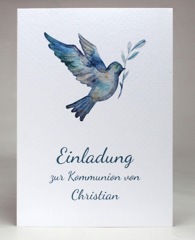 Einladungskarten kommunion konfirmation personalisiert inkl text druck umschlag