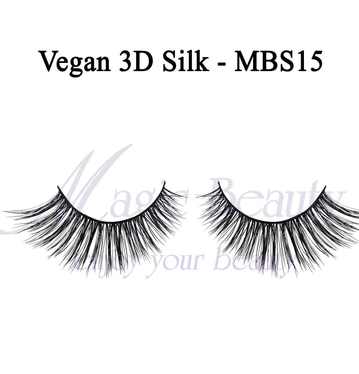 Vegan 3D Silk Lashes-MBS15 Made of Korean PBT Fiber and multilayers