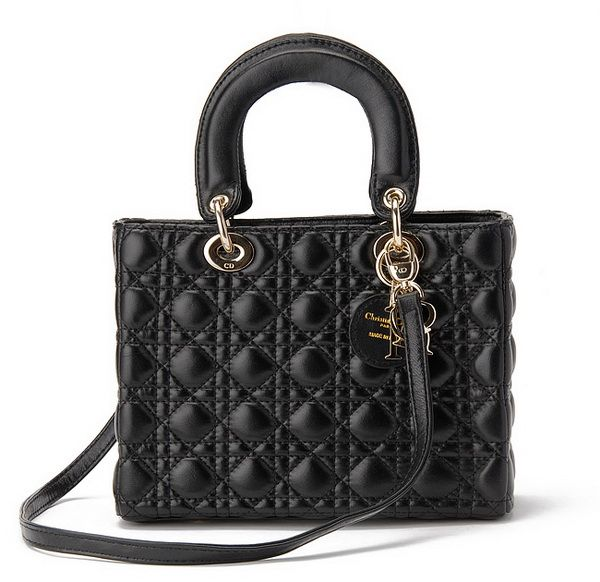 The medium Lady Dior bag in black lambskin with gold hardware