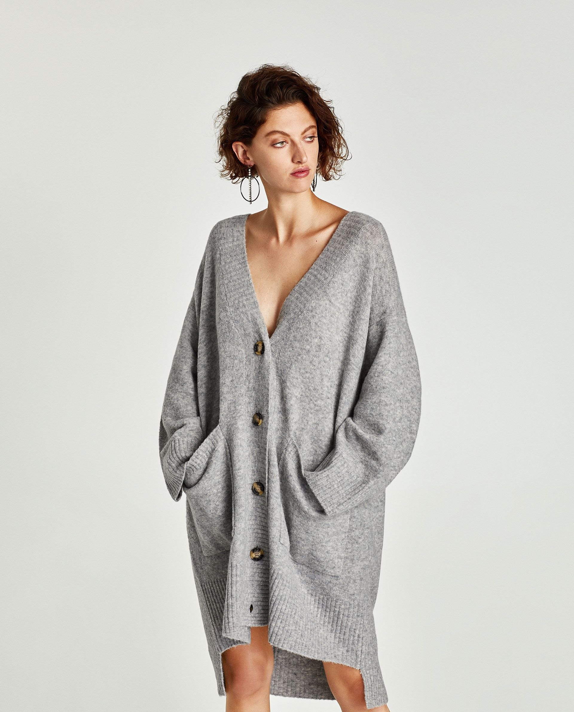 Zara AW17 grey oversized longline cardigan in wool blend 49 ...