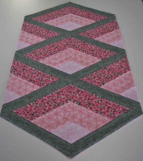 Quilted Table Runner , Cottage Chic Shabby Table Runner , Pink And Sage  Green Floral , Lace Inserts , Quiltsy Handmade