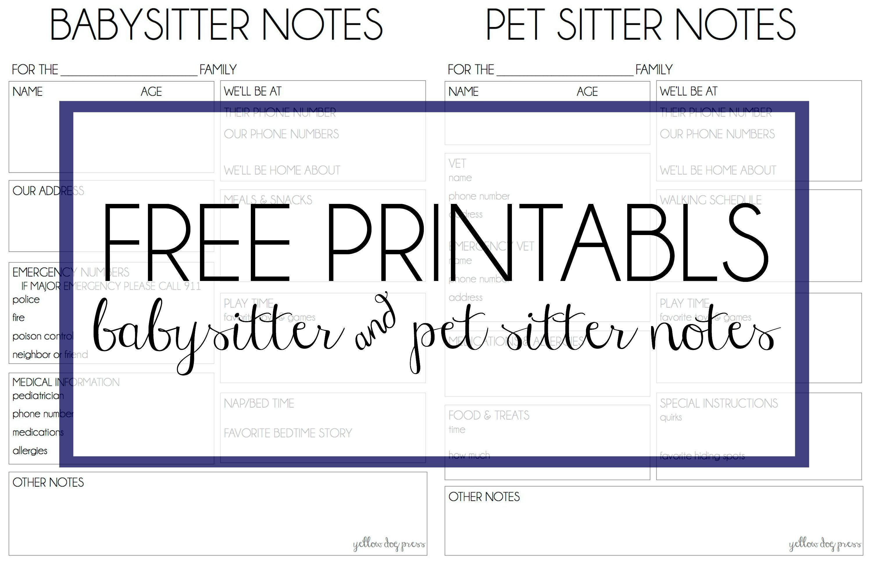 Babysitter Amp Pet Sitter Notes