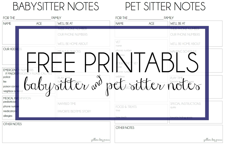 Babysitter Amp Pet Sitter Notes