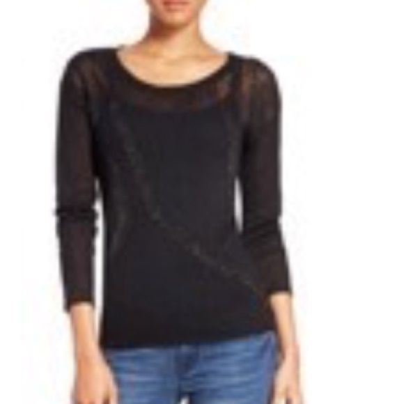 JustFab semi-sheer black sweater. JustFab semi-sheer black sweater.  New without tags. JustFab Tops