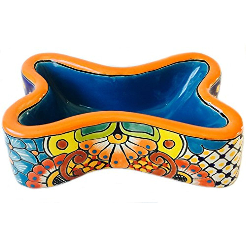 Mexican Talavera Ceramic Dog Bowl Bone Shape Orange Rim Blue Center If You Want To Know More Click On The Imag Mexican Talavera Ceramic Dog Bowl Talavera