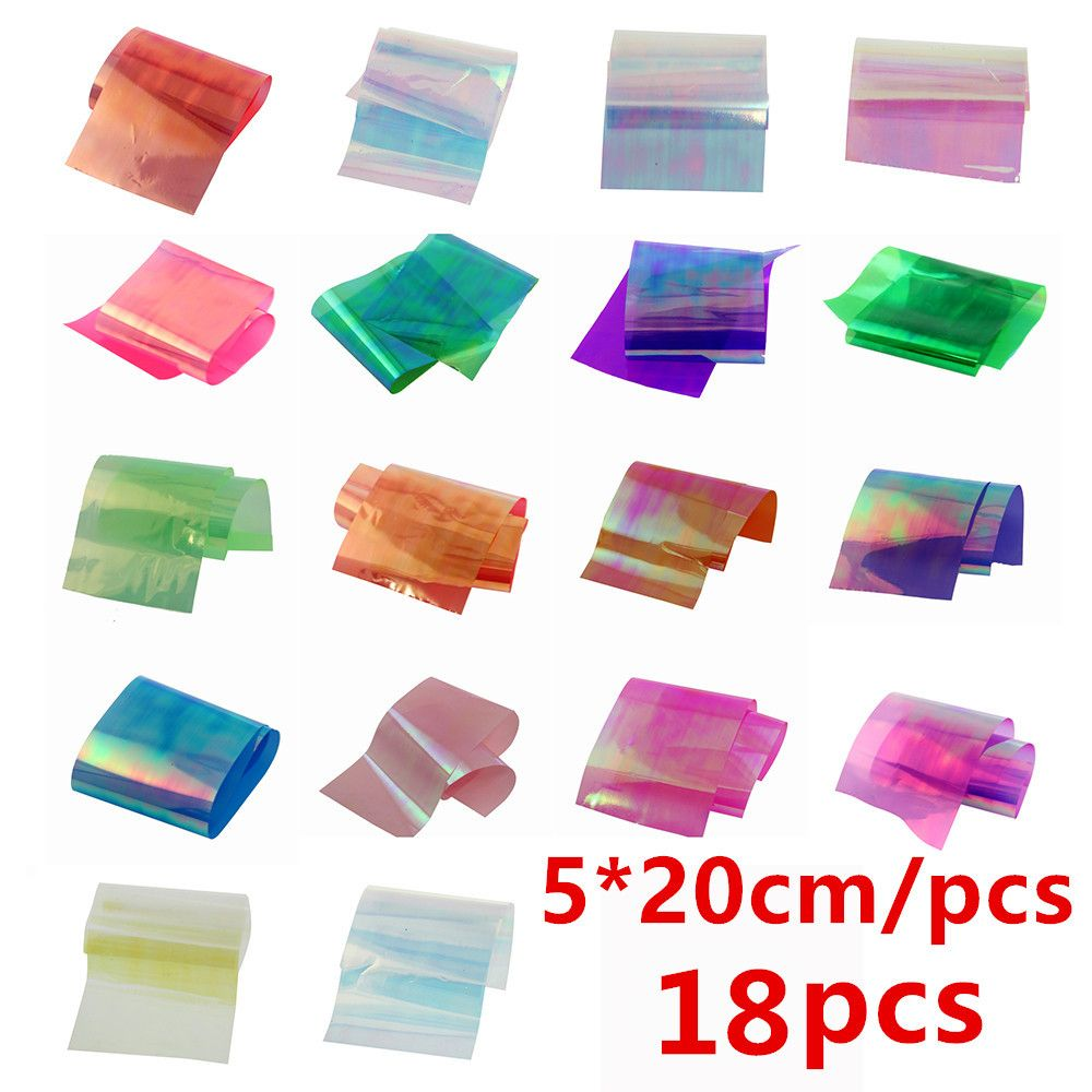 1 Los 18 stücke/Farben Nagel Kunst Neuesten Holographische Glas ...