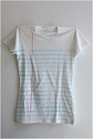Notebook page Tshirt - this is adorable!!! We need to get fabric