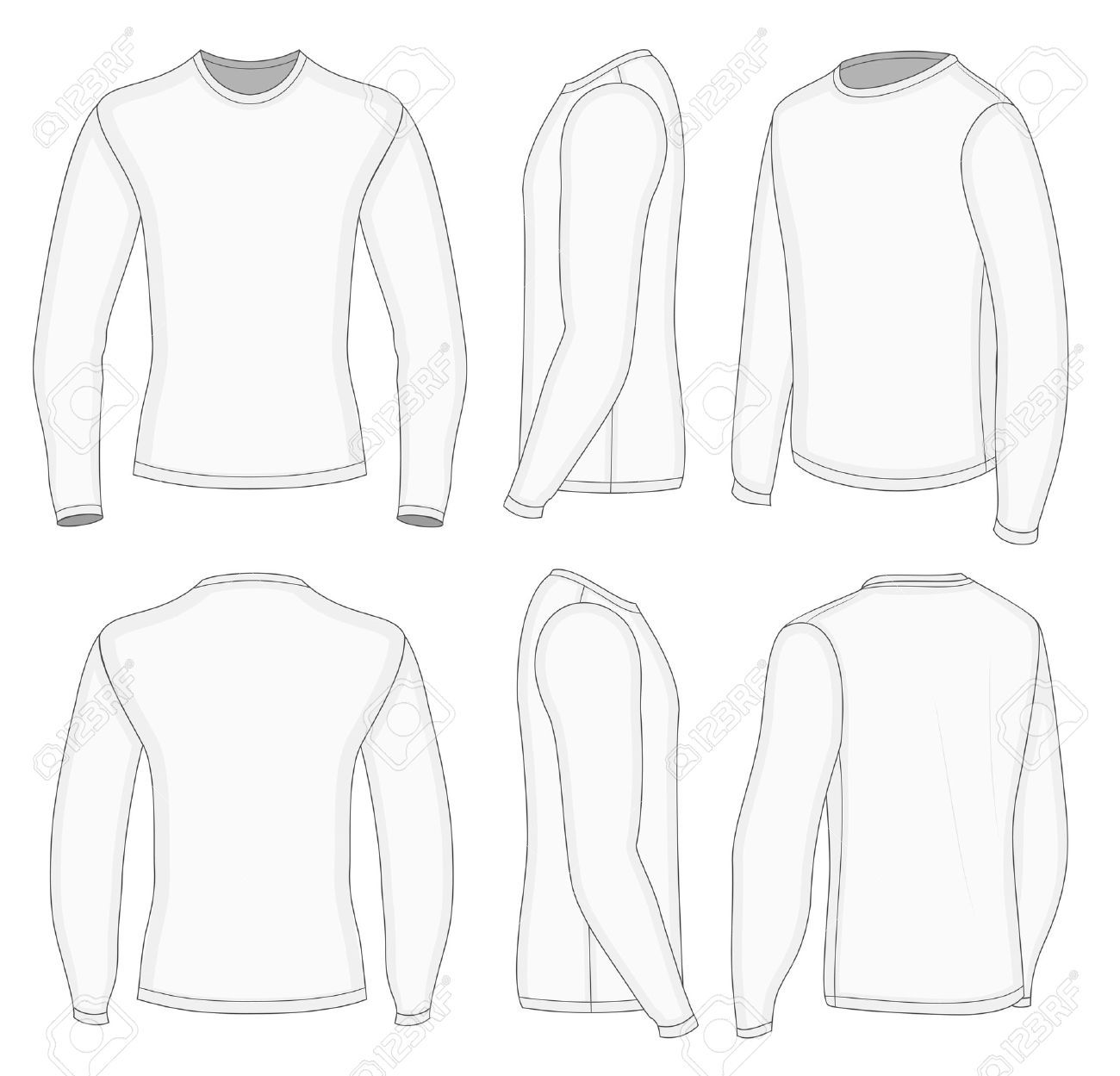 All Six Views Mens White Long Sleeve T Shirt Design Templates ...