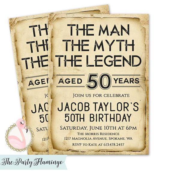 Mens Birthday Invitations The Man Myth Legend Invitation 40th 50th 60th 70th 80th Vintage Style Printable Printed