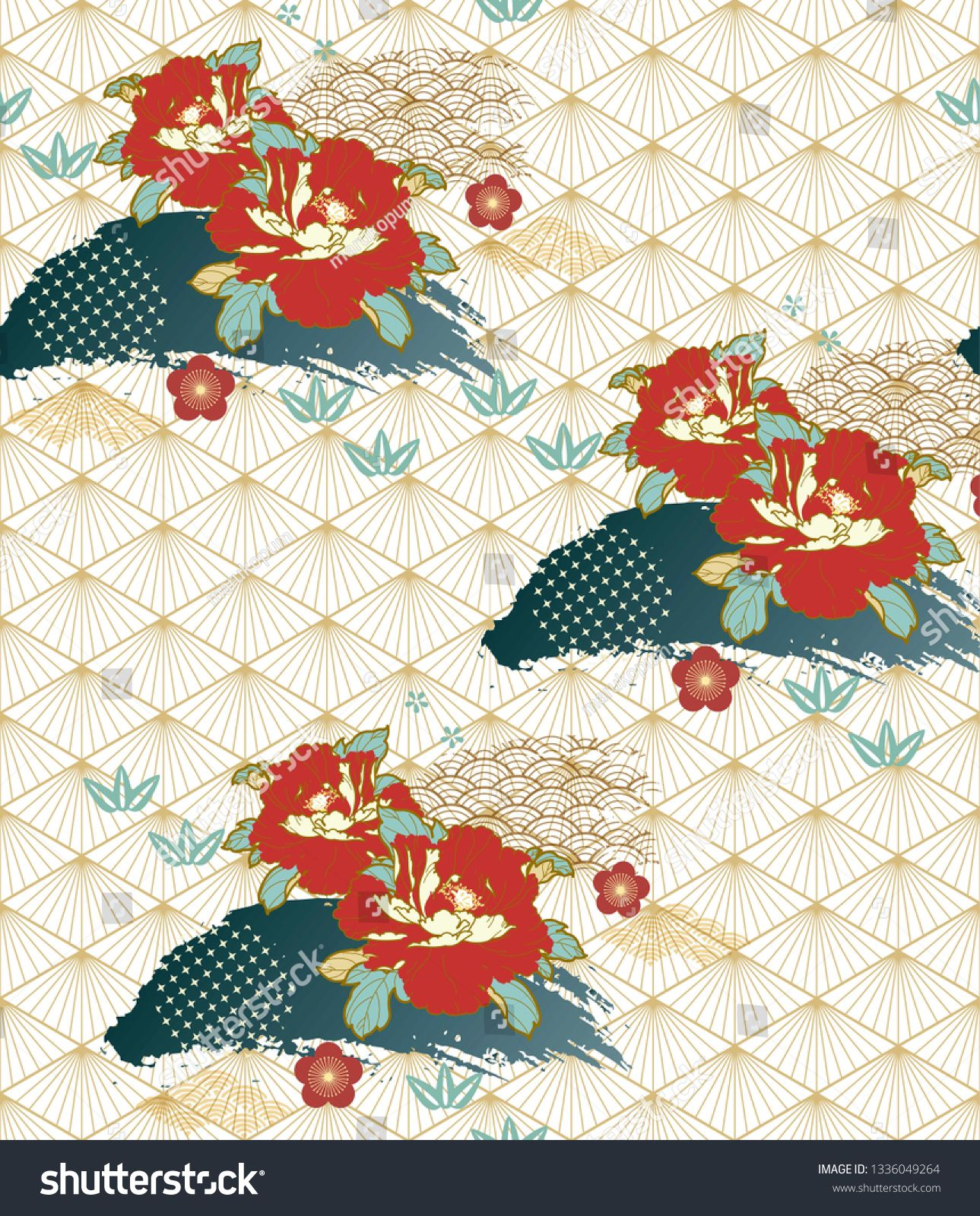 Japanese pattern with peony flower vector background Asian Red floral template
