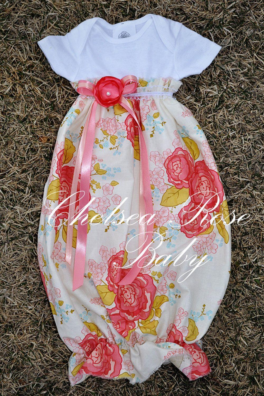 Baby Girl Onesie Dress, Baby Girl Dress, Sleep Gown, Layette ...