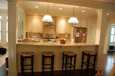 Half wall turned counter seating wit seating reversed to the
