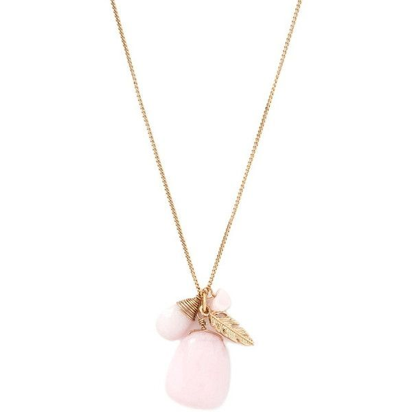 Forever 21 Faux Stone Longline Necklace ($6.90) ❤ liked on Polyvore featuring jewelry, necklaces, pendant charms, lobster claw charms, charm pendant necklace, feather pendant and stone pendant