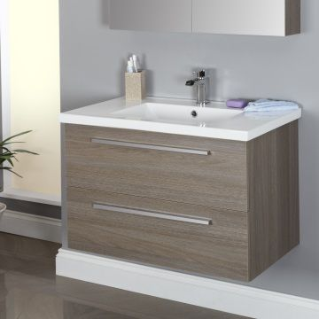 Vasari wall hung vanity unit basin grey oak 800mm - Bathroom vanities nebraska furniture mart ...