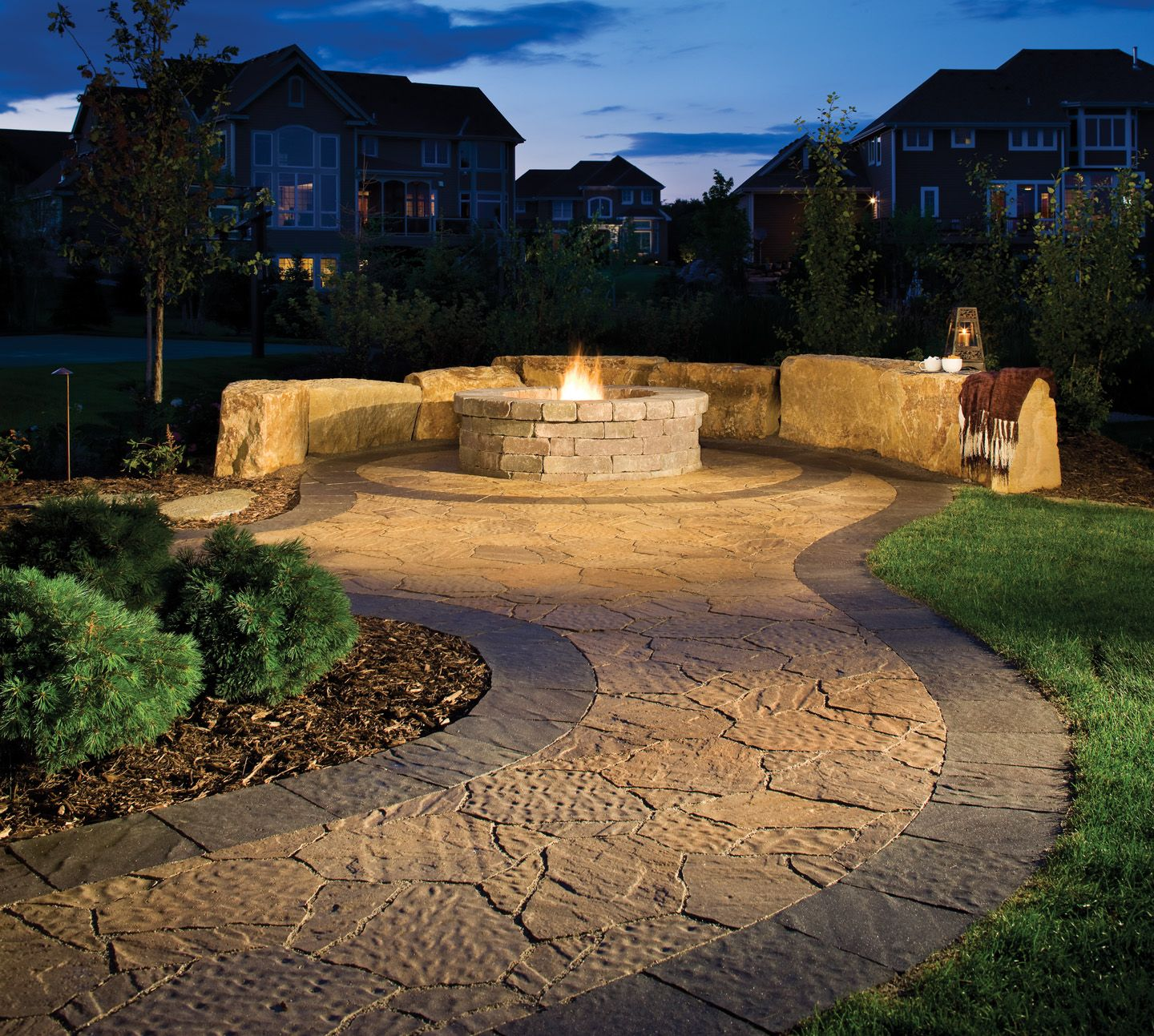 Stone fire pit designs patio traditional with artistic hardscape - Hardscape Idea Path To Fire Pit