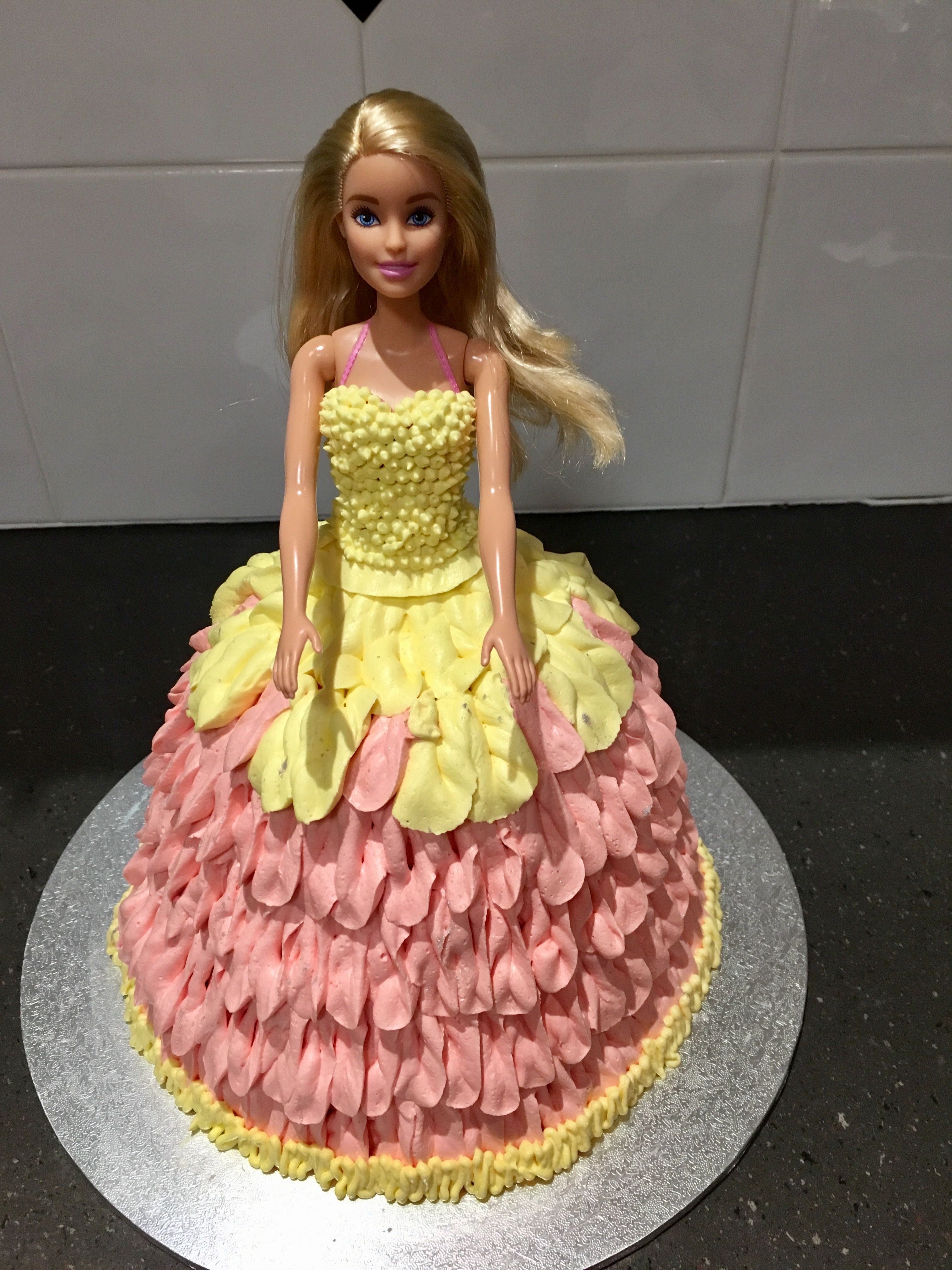 Pretty Barbie Doll Cake With Piped Buttercream Icing With Images