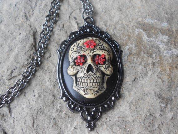 Skull Cameo Necklace Sugar Skull Gothic Dia del los Muertos Day of the Dead Pendant Gift for Women