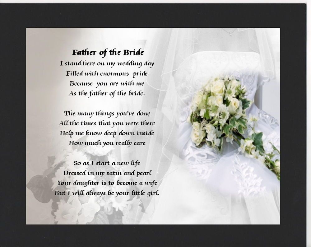 Bride Gift Father Of The Sayings: Personalised Mounted Poem Print