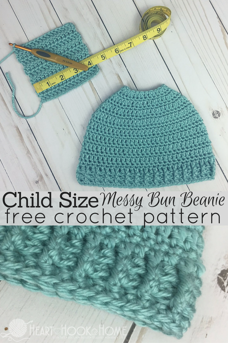 1fe2104c9ed Who would have thought that the Messy Mom Bun Beanie crochet pattern would  have been so popular  So we made a child size messy bun pattern - for free!