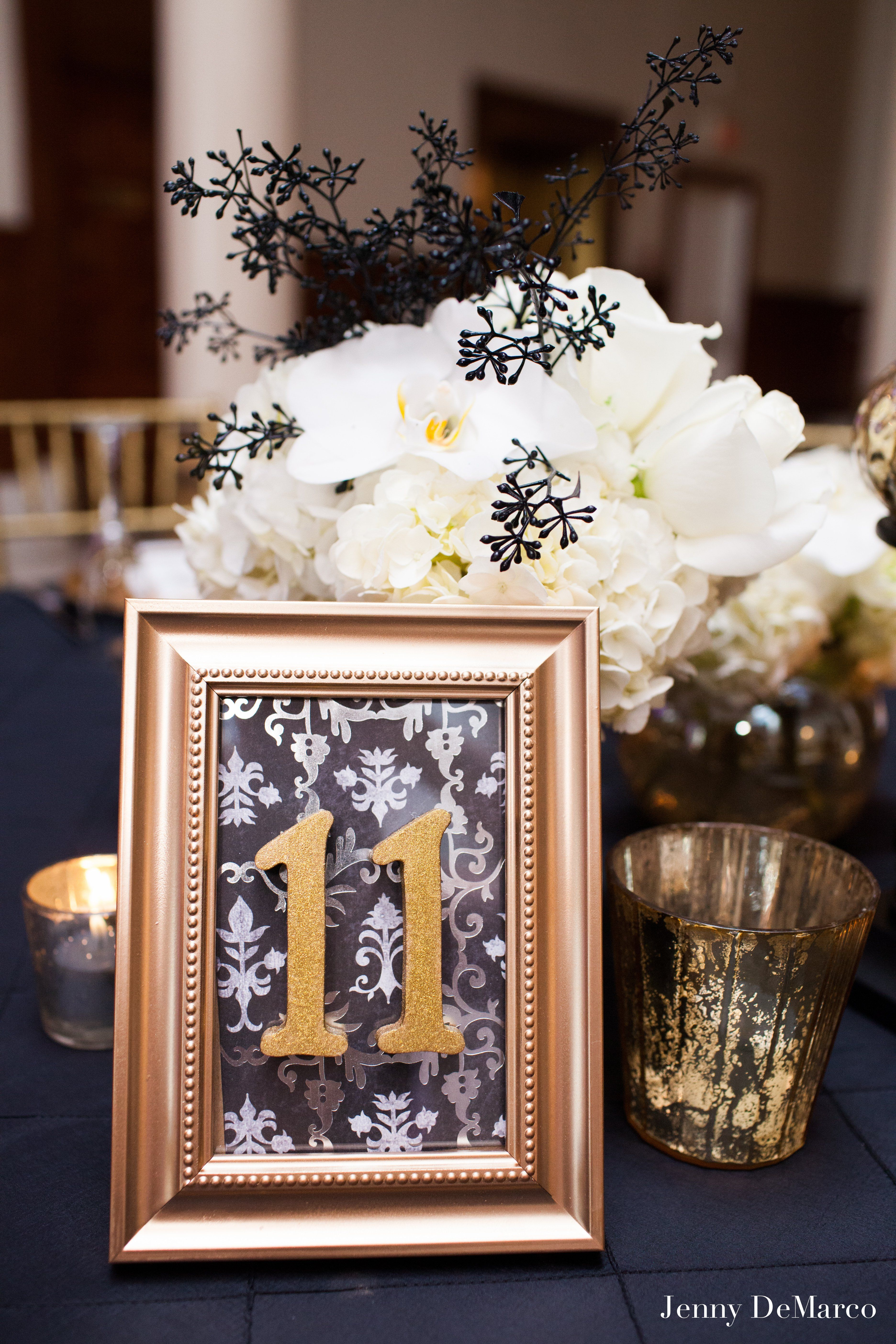 Ornate Gold Framed Table Numbers | anniversary ideas | Pinterest