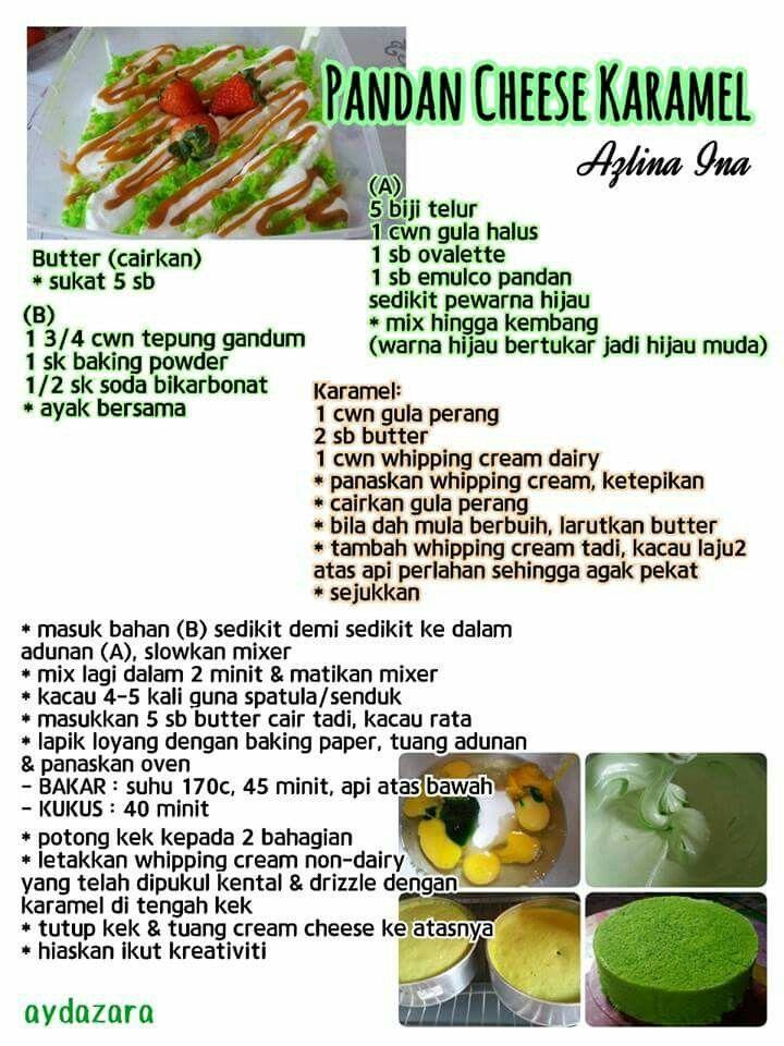 Pandan Cheese Karemel Pandan Cake Cake Recipes Savory Dessert